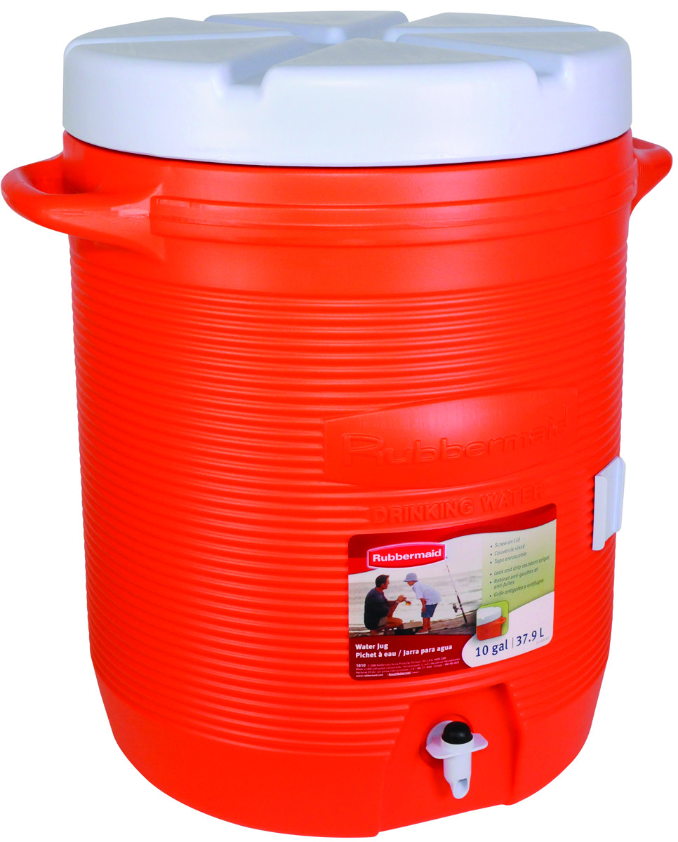 Rubbermaid Home 1610 01 11 10 Gal Orange Commercial Water