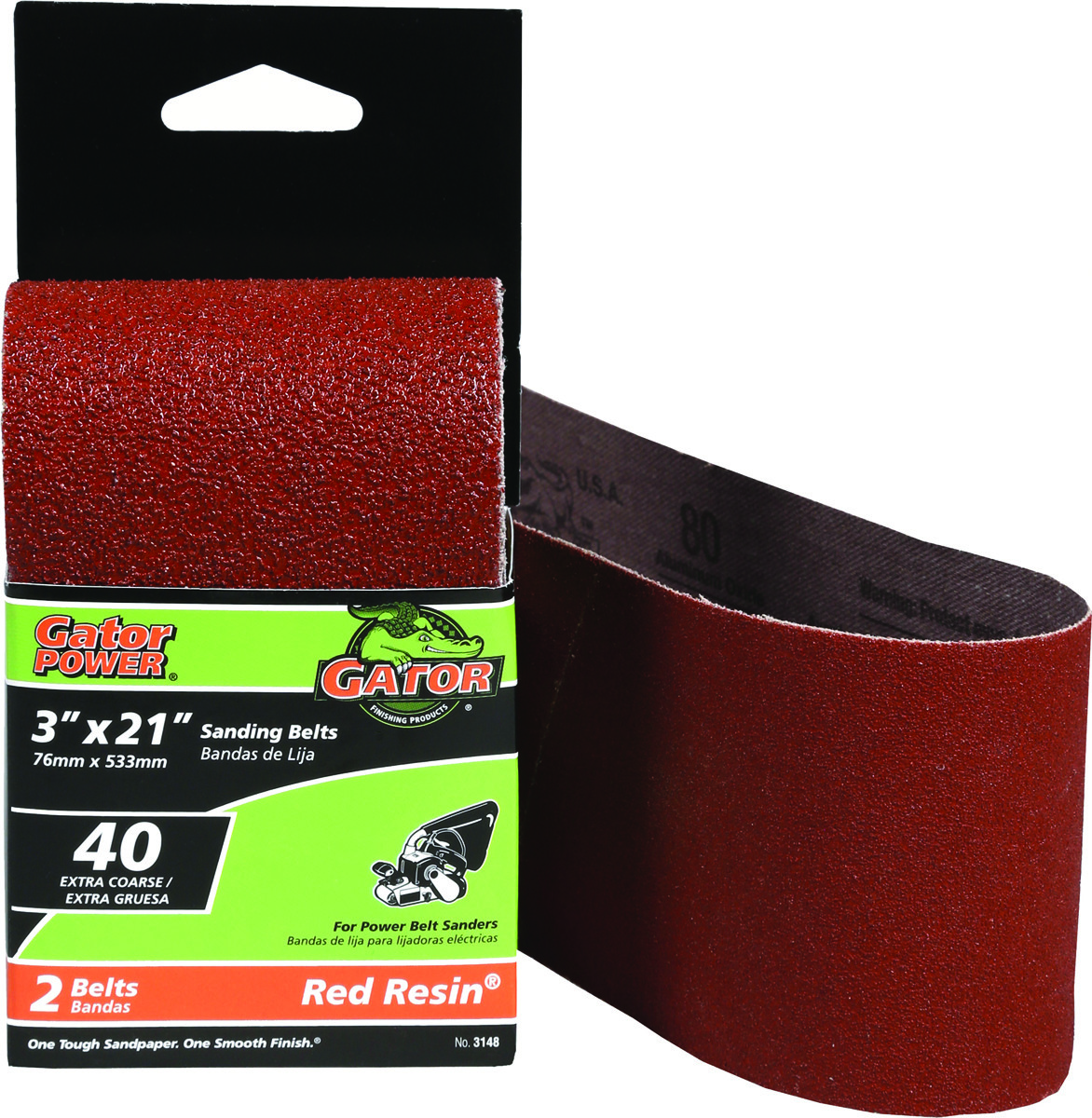 "2 pack 3157 Gator Finishing 50 Grit Red Resin 3/"" x 24/"" Sanding Belts"