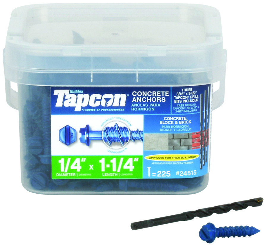 TAPCON 75-Pack 2-1//4-in x 1//4-in Concrete Anchors NEW!