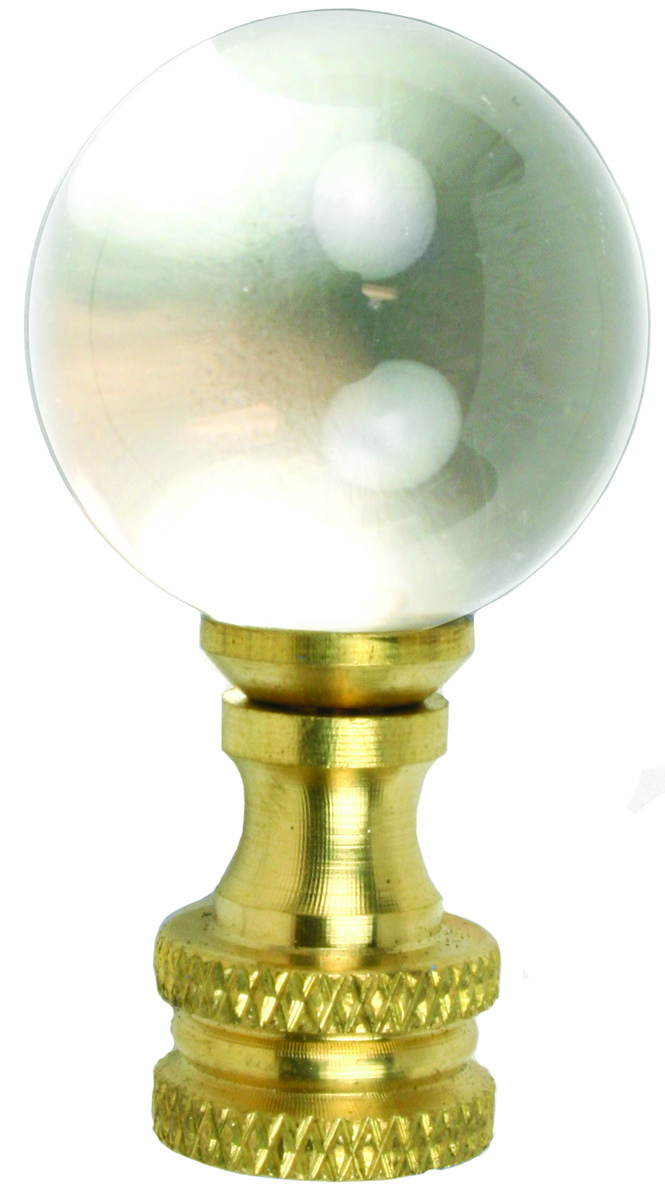 Jandorf 60112 1-7/8 Inch Glass Ball Finial With Brass Finish Base