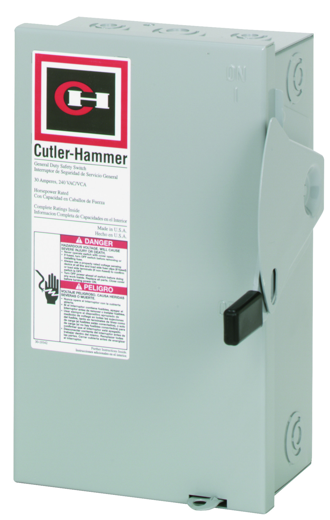cutler hammer dg221ngb 30 amp fusible/indr safety switch (782113120171-1)  hardware and tools