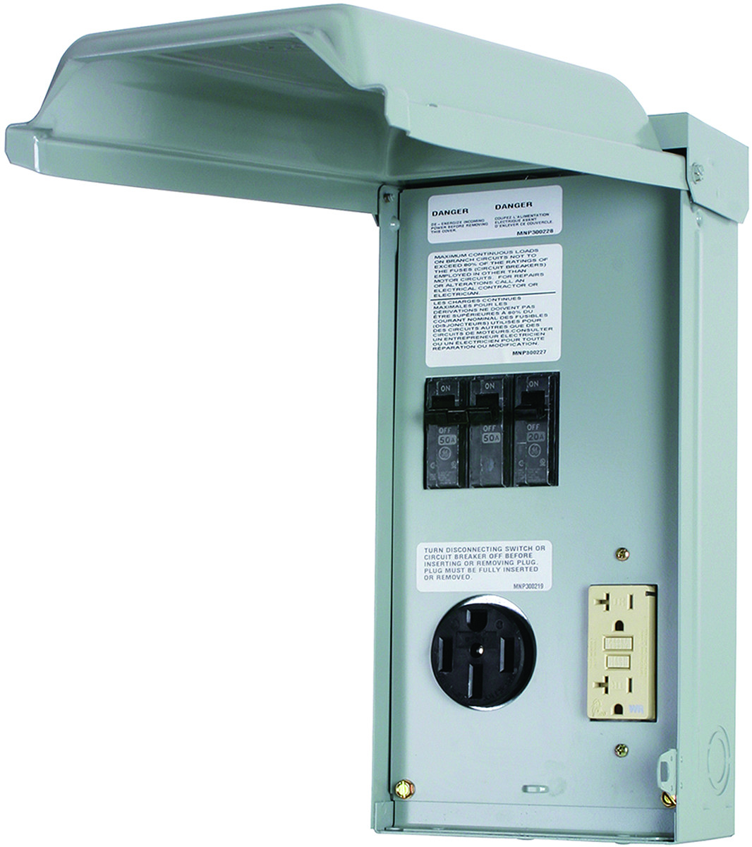 Ge Electrical Ge1lu502ss Power Panel Rv 70a 50 20a Gfci General Switch Breaker Box Fuses Tap To Expand