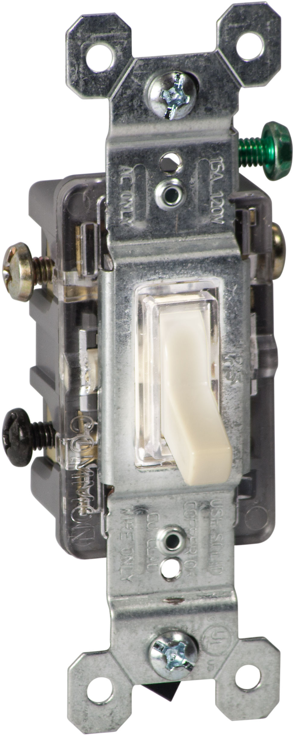 Pass Seymour 660islgcc10 15 Amp 120 Volt Ivory Grounded Single Pole Toggle Switch Illuminated Tap To Expand 1