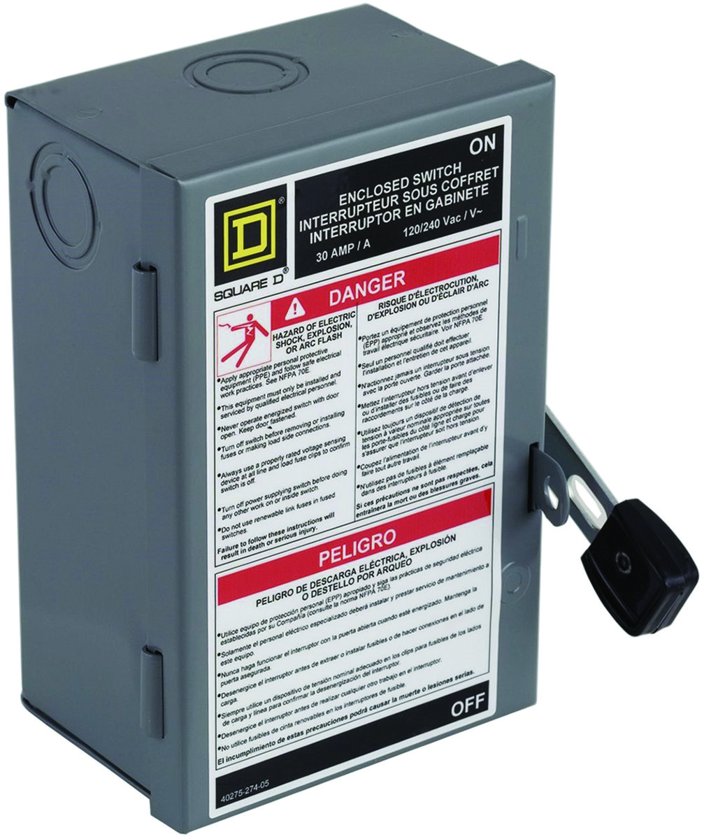 electrical & lighting circuit breakers & panel boxes safety switches   square d l211n 30 amp light duty safety switch
