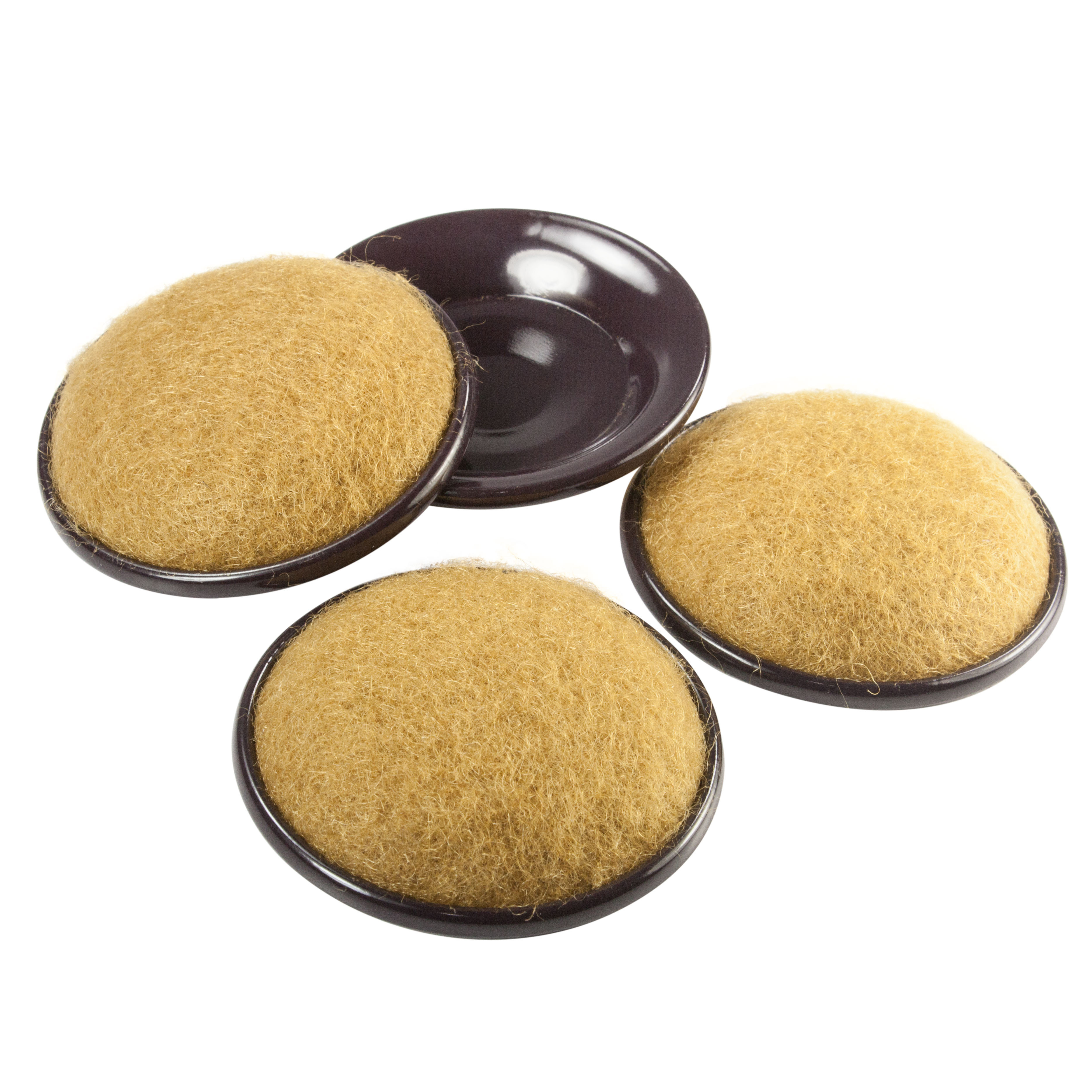 2-1//4 Inch Round Brown Woodgrain Rubber Grip Caster Cups Pack Of 4